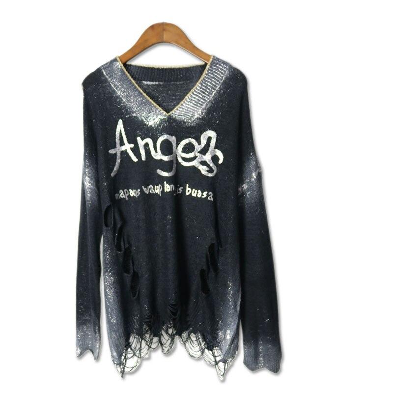 2016 frauen Tops T-shirt Lange Hülse aushöhlen Punk Rock Pok Stil frauen Oansatz Art Und Weise Baumwolle Kleidung