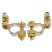 2pcs/set 35mm Positive 34mm Negative Car Battery Terminal Gold Plated Universal Auto Metal Terminals