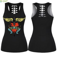 f02138c334098 Bon Jovi Logo Running Colete de Volta Oco Out Mulheres Singlet Esportes  Yoga Colete Harajuku Halter Regatas Camisas Sem Mangas d.