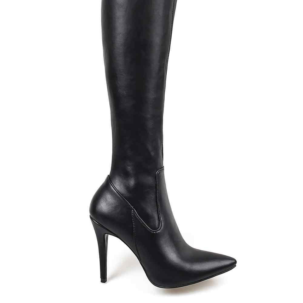 2019 Nieuwe Vrouwen Over de Knie Laarzen PU Over de Knie Laarzen Hoge Laars Rihanna Stijl voor Vrouwen Schoenen 10cm hoge Hakken Laarzen Wees Teen