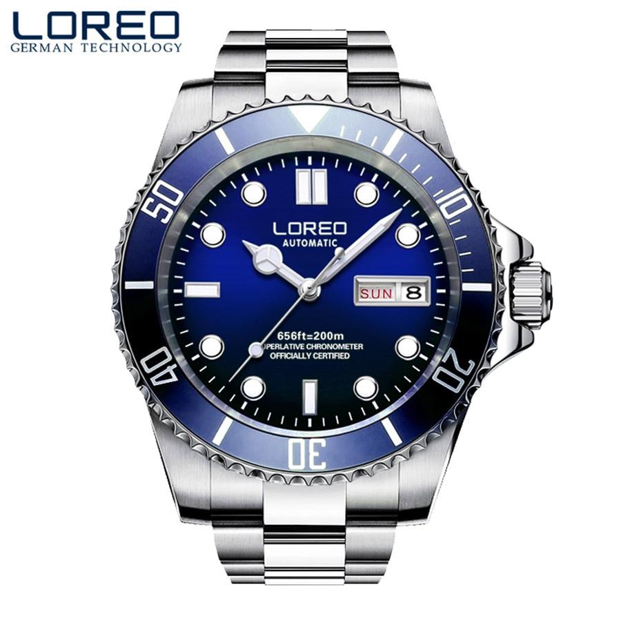 Loreo mens watches 톱 브랜드 럭셔리 사파이어 다이빙 200 m 빛나는 시계 남자 갈매기 운동 자동 기계식 손목 시계-에서기계식 시계부터 시계 의  그룹 1