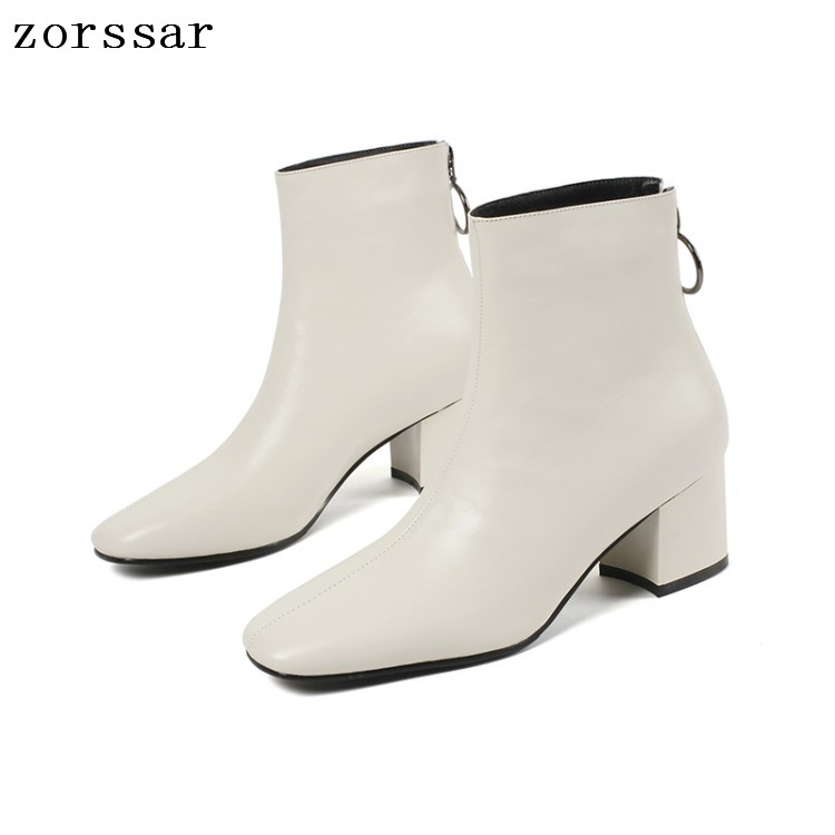 {Zorssar} fashion young female boots soft leather Thick high heel women ankle boots winter fur woman snow boots shoes White zorssar 2018 new fashion women shoes round toe thick heel ankle snow boots patent leather high heels womens boots winter