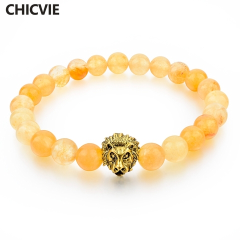 Chicvie браслет с желтыми натуральными камнями искусственная