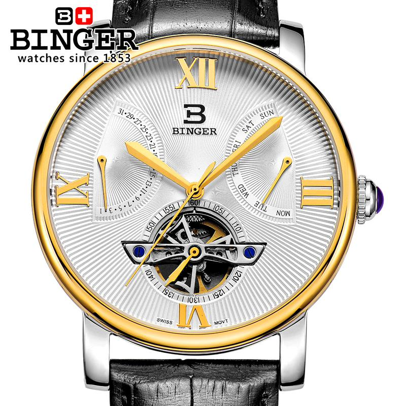 2a589d44675 Switzerland men s watch luxury brand Wristwatches BINGER Mechanical clock  Diver waterproof leather strap watch BG