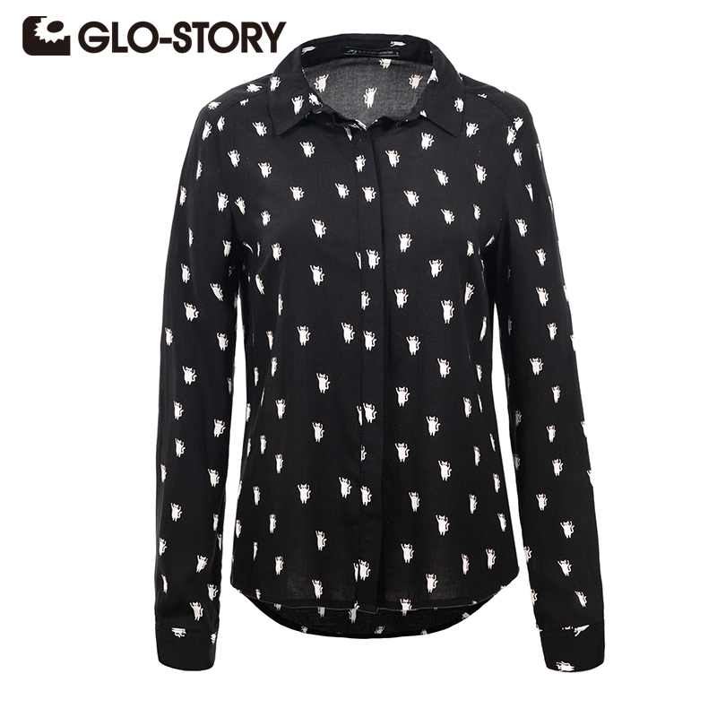 GLO-STORY Womes Long Sleeve Shirt 2018 New Autumn Cartoon Print Casual Blouse Turn Down Feminina Tops blusa 4680