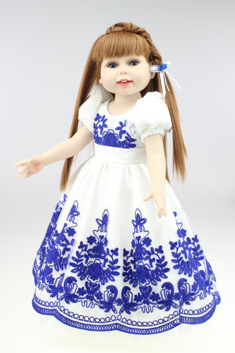 Peau claire yeux bleus 18 pouces fille poupée identique à la poupée fille pour poupée jouer poupée anniversaire vacances cadeau jouet poupée de noël cadeaux