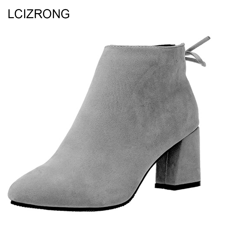 LCIZRONG Winter Fashion 6.5CM High Heel Boots Women Flock Sexy Pointed Toe Ladies Ankle Boots Butterfly-knot Zipper Black Shoes women s flock leather ankle boots sexy thin high heel bootie zipper round toe winter fashion ladies shoes red gray black