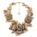 Ufashional Brand Summer European and American Style Necklace from lndia Vintage Big Gold Rose Flower Pendant Necklaces for Women