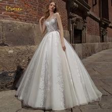 Loverxu Sweetheart A Line Wedding Dresses Chic Applique Spaghetti Strap Backless Bride Dresses Court Train Bridal Gown Plus Size