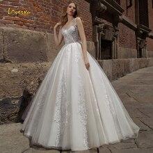 Vestidos de novia Loverxu Sweetheart Línea A apliques Chic Correa espagueti vestido de novia con la espalda descubierta corte tren vestido de novia de talla grande