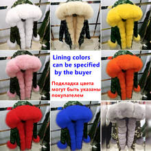 YOUMIGUE New Women Long Winter Jacket Outwear Natural Real Fox Fur Collar Hooded Coat rabbit hair lining pelliccia donna casaco