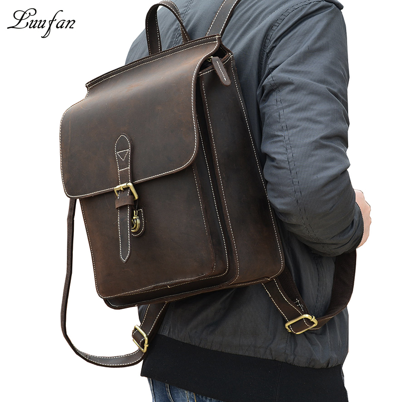Vintage crazy horse leather backpacks Mens genuine leather rucksack durable leather school bag horse leather bag
