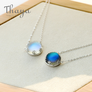 Image 5 - Thaya 45cm Crystal Gemstone s925 Silver Aurora Necklace Halo Scale Light Forest Women Pendant Necklace for Girl Elegant Jewelry