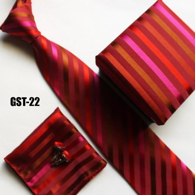 Chegada nova red listrado pescoço Laços estabelecidos para homens handerchief + abotoadura + caixa de presente + cravates