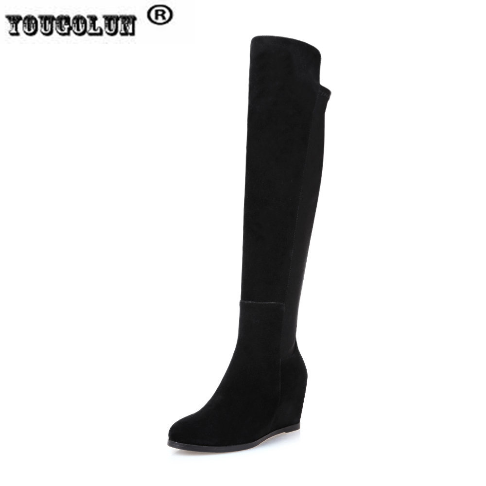 YOUGOLUN ladies fashion thigh high over the knee boots woman autumn winter womens female sexy nubuck suede leather women shoes ppnu woman winter nubuck genuine leather over the knee snow boots women fashion womens suede thigh high boots ladies shoes flats