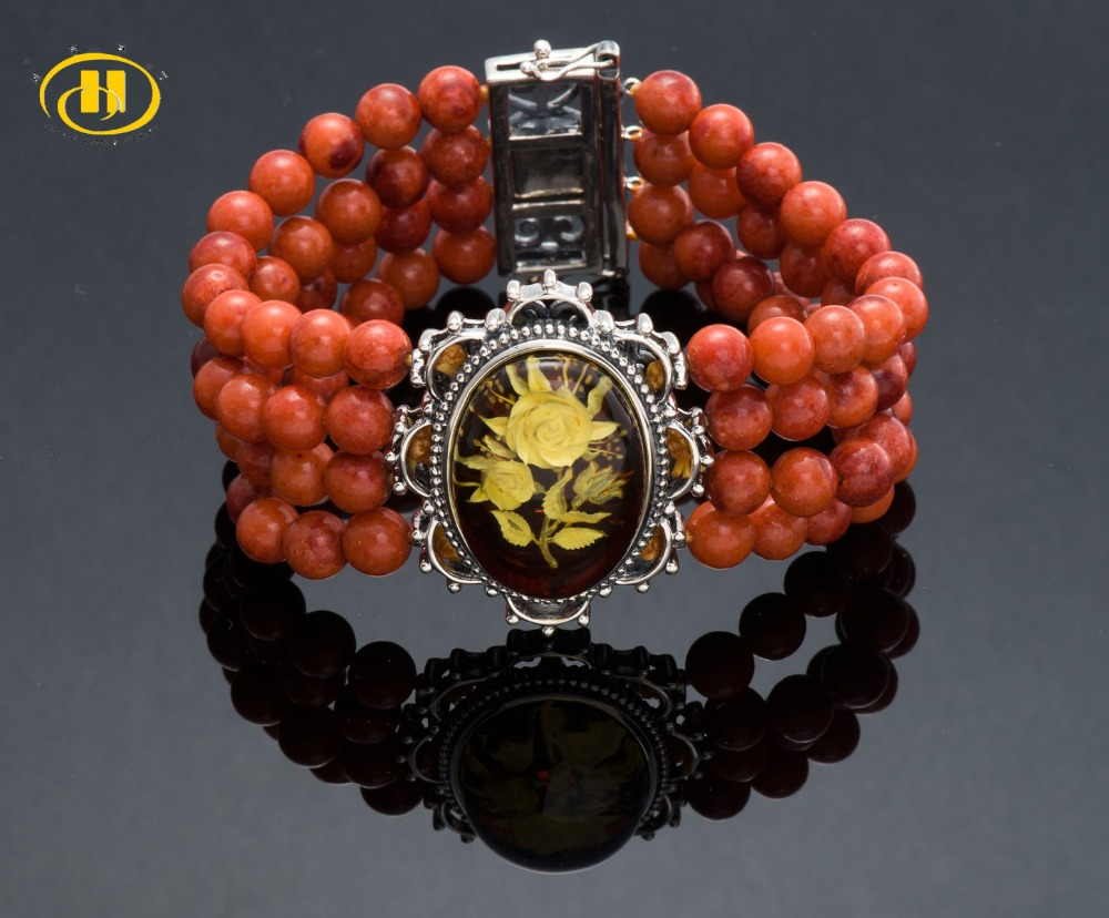 Hutang Vintage Stretch Bracelet Rose Amber & Red Coral 925 Sterling Silver Jewelry Free  ...