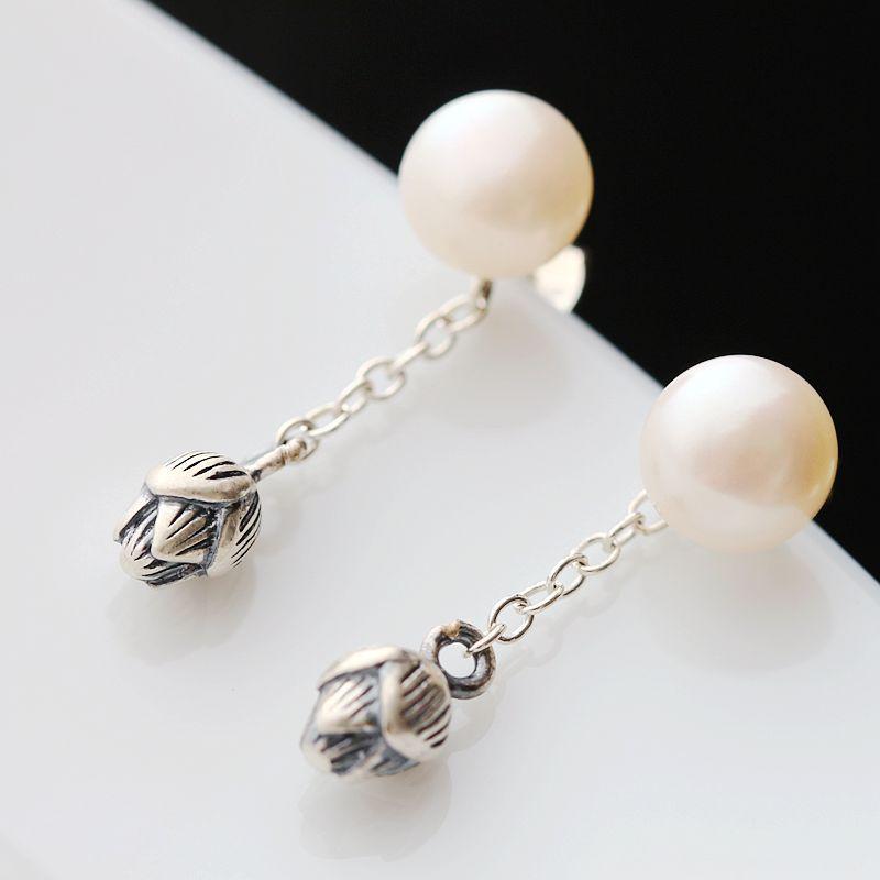 Handmade tassel earrings inlaid natural pearl 925 sterling silver earrings
