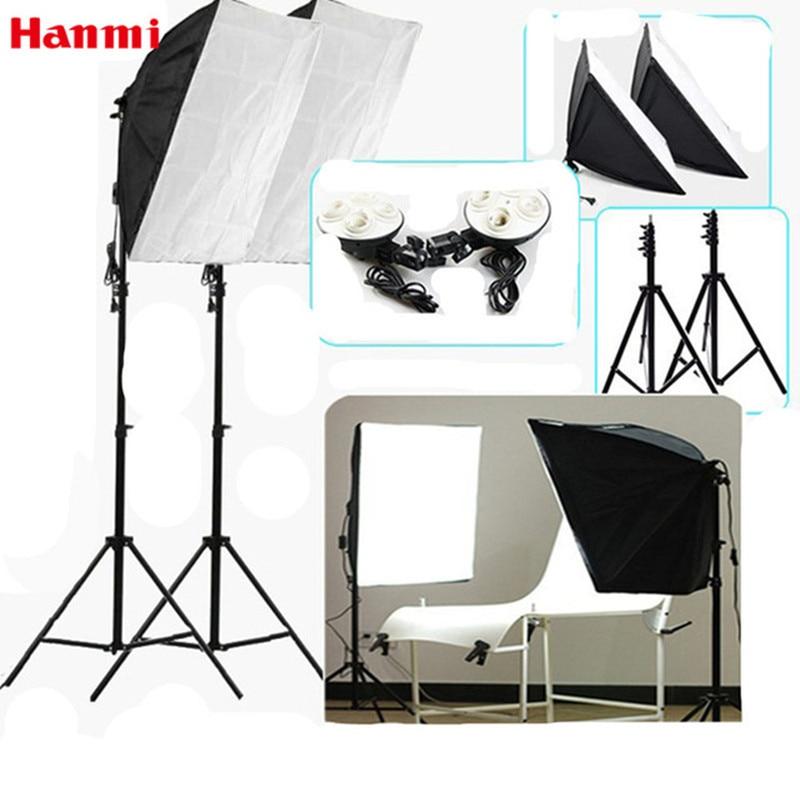 Hanmi Photography Studio Flash Soft Box 2*Softboxes+2*Lamp Holder+2*2m Light Stand Tripod Professional Fotografia Studio Softbox hanmi selfie &