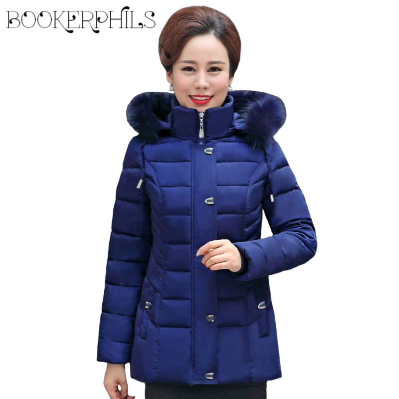 2017 Middle-aged Winter Jacket Women Fur Collar Thick Warm Plus Size Female Jacket Down Cotton Coat Female Parkas Women winter winter jacket female parkas hooded fur collar long down cotton jacket thicken warm cotton padded women coat plus size 3xl k450