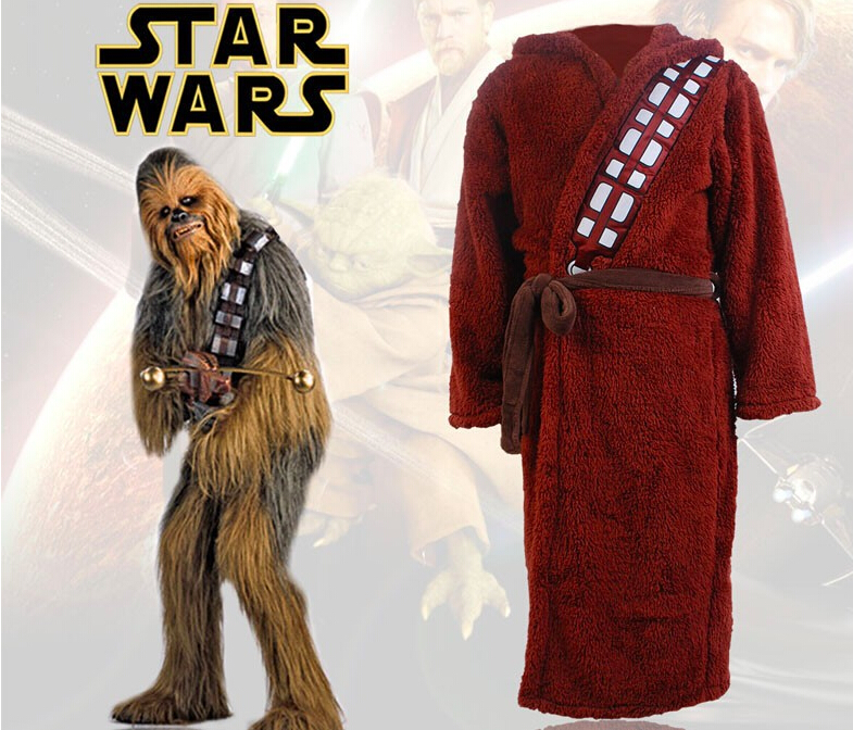 Star Wars Chewbacca Hoddie Bath Robe Cosplay Costume Bathrobe For Adult Men Free Shipping Halloween