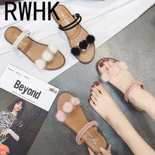 RWHK Womens sandals 2019 spring new Korean fashion comfortable transparent hair ball womens shoes flat B206