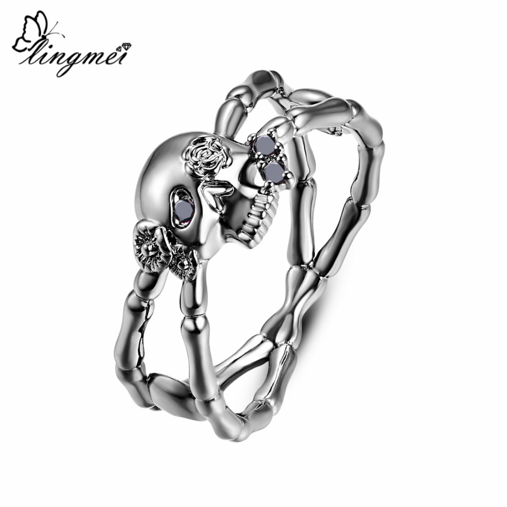 Lingmei Wholesale New Fashion Punk Style Skull Rings Men 39 s Women 39 s Fashion Zircon Jewelry Silver Black GoldPlated Ring Size 6 9 in Rings from Jewelry amp Accessories