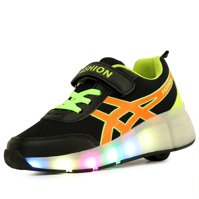 Boys Girls Roller Skates Sneakers Breathable Single Wheel Glowing LED Light Shoes Little Kids/Big Kids Flashing Board 30-39 glowing sneakers usb charging shoes lights up colorful led kids luminous sneakers glowing sneakers black led shoes for boys