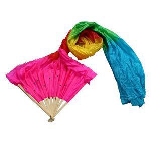 Multi Colore Fatto A Mano Del Ventre Colorato Danza Danza Seta Di Bambù Lunga Ventole Veli