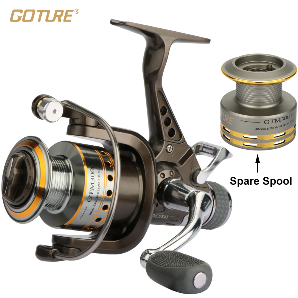 Goture Spinning Fishing Reel 7+1BB Double Drag Saltwater Reel With A Spare Spool nunatak original 2017 baitcasting fishing reel t3 mx 1016sh 5 0kg 6 1bb 7 1 1 right hand casting fishing reels saltwater wheel