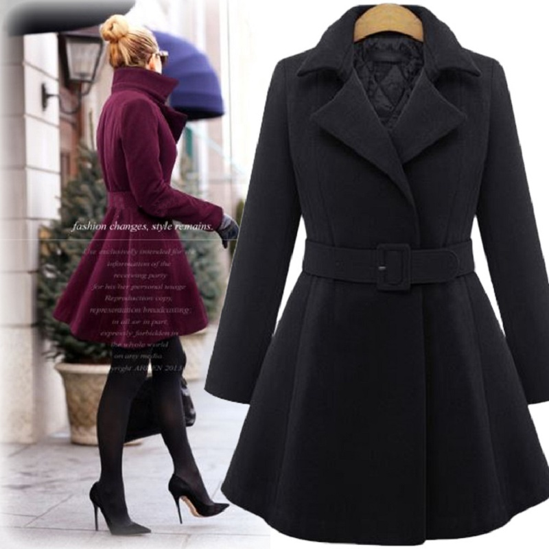 Uwback 2017 Womens Long Coat Wool Trench Overcoat Plus Size 5XL Skirt Style Winter Thick Liner Wool Coats Women Sashes CBB380
