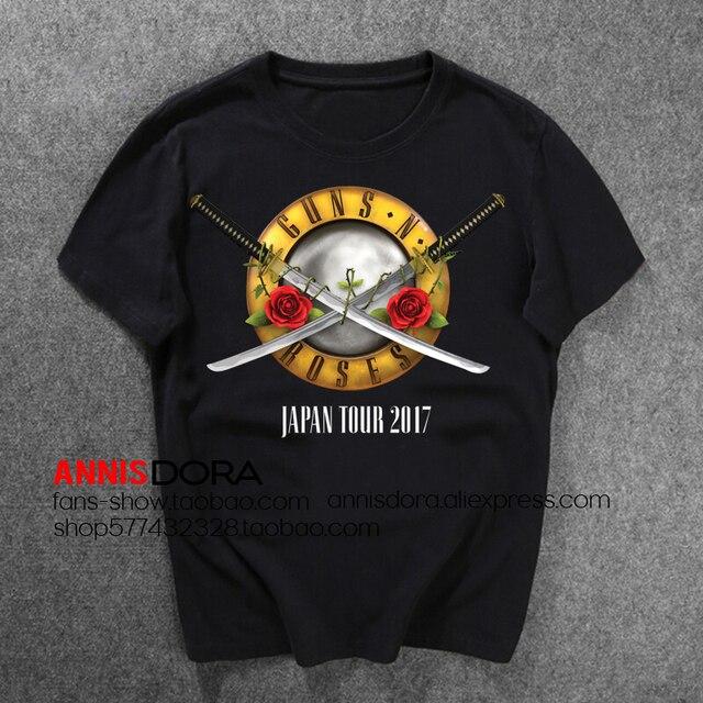 e3d41382f Guns N 'Roses GnR Japan Tour 2017 Short Sleeve T Shirt-in T-Shirts ...