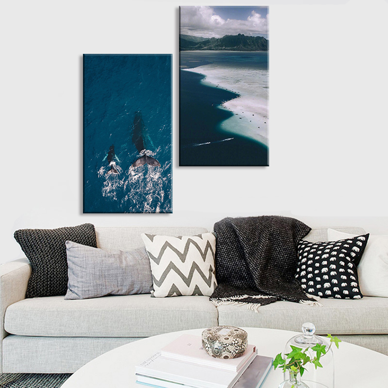 Tropical Island Sea Whale Poster Qutoe Print Canvas Art Painting for living Room Wall Decorative Picture Nordic Style Home Deco