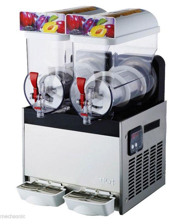 Commercial 2 Tank Frozen Drink Slush Slushy Making Machine Smoothie Maker 30L U