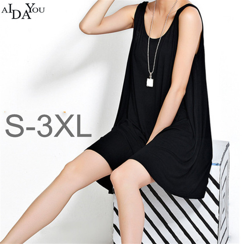 Women loose <font><b>Dress</b></font> plus size <font><b>6xl</b></font> <font><b>Sexy</b></font> o neck female Sleeveless modal soft skin casual <font><b>Dresses</b></font> for beach ouc1138a image