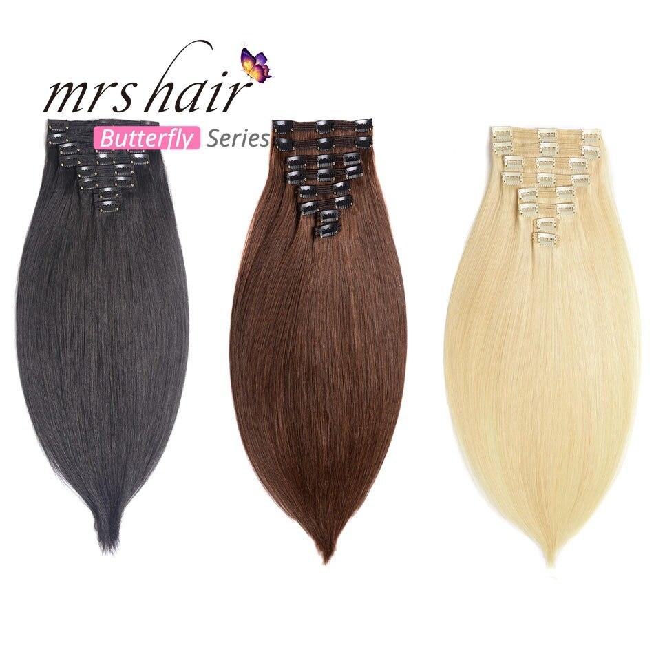 MME CHEVEUX Clip En Extensions de Cheveux Humains Droite 8 pcs Ensemble Machine Fait Remy Brésilienne Cheveux Clips Pleine Tête 14 16 18 20 22