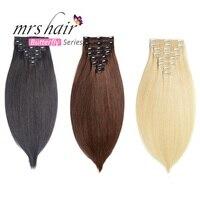 MRS HAIR Clip In Human Hair Extensions Straight 8pcs Set Machine Made Remy Brazilian Hair Clips Full Head 14 16 18 20 22