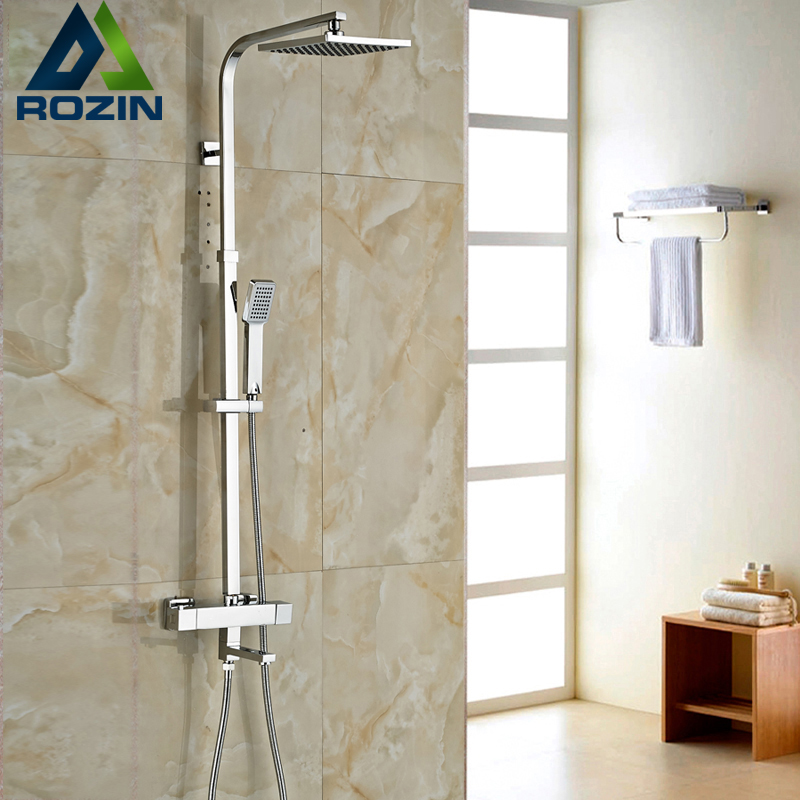 цены Brand New Chrome Thermostatic Water Shower Faucet Set Bath Tub Shower Mixers with Handshower 8