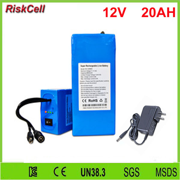 5 pcs/lot DC 12 V 20000 mAh Li-ion Rechargeable 12 v 20ah batterie avec chargeur secteur 2A