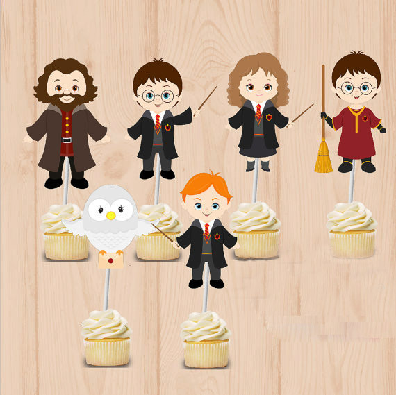 Wizard party Cupcake Toppers  Harry Potter  Birthday Party Decorations Party Supplies Birthday Party Decorations Kids
