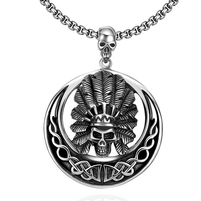 Lua de Aço Inoxidável Colar Dos Homens de Cabeça de Esqueleto gótico Indiano Pena Colar de Jóias Tribo Punk América Do Crânio Do Motociclista Do Motor