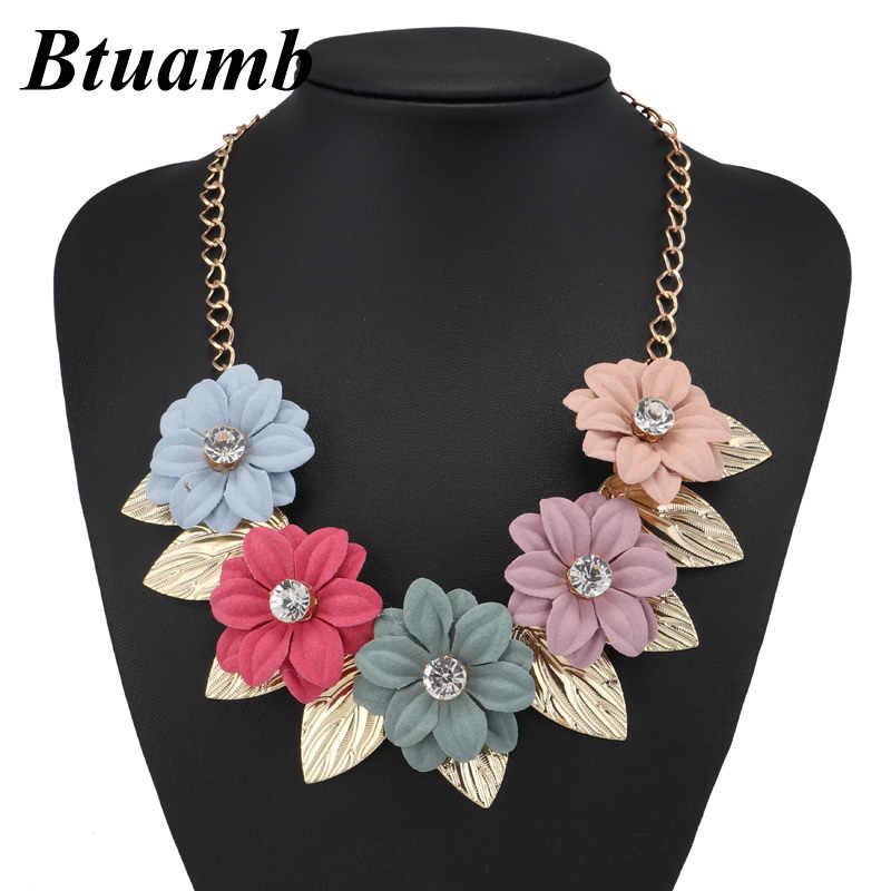 Btuamb New Maxi Bohemian Crystal Big Flower Statement Necklaces New Arrival Gold Color Leaves Chokers Necklaces for Women Bijoux