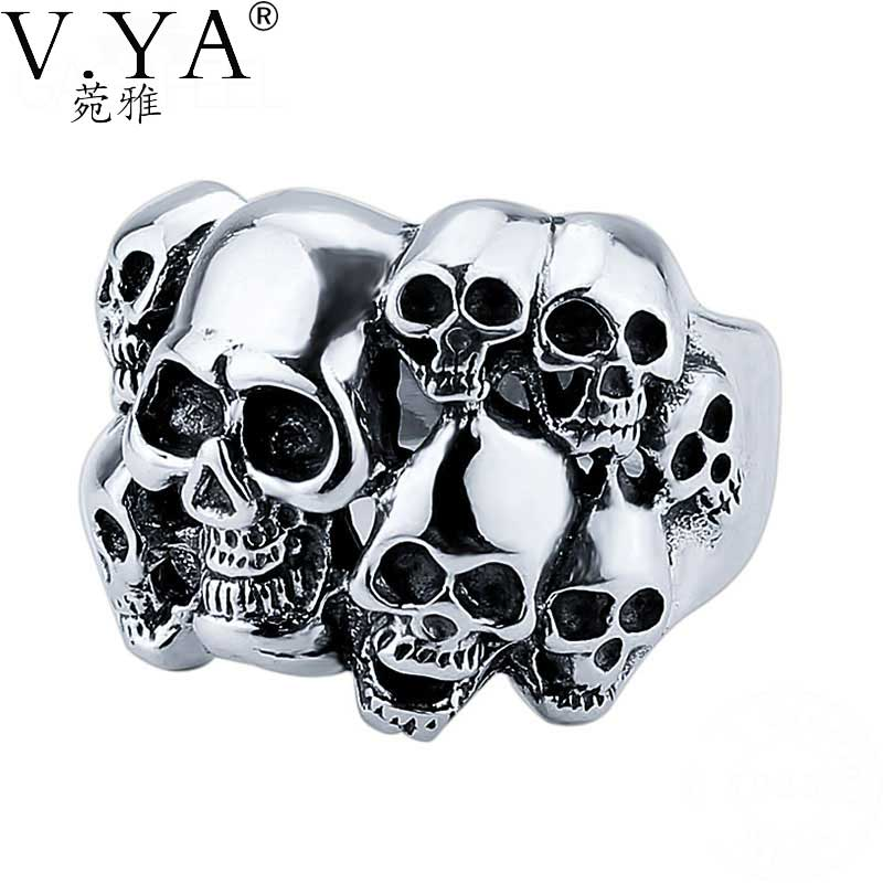 V.YA 925 Sterling Silver Rings Skull New Fashion Skeleton 100% S925 Solid Sterling Silver Ring for Women Men Jewelry