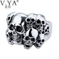 V YA 925 Sterling Silver Rings Skull New Fashion Skeleton 100 S925 Solid Sterling Silver Ring