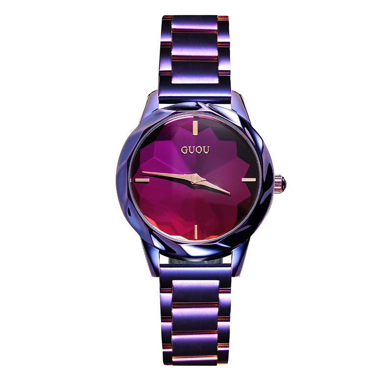 2019 Fashion Guou Top Brand Luwatch Reloj Mujer Rose Colors Purple $ Black Stainless Steel Quality Ladies Quartz Women Watches2019 Fashion Guou Top Brand Luwatch Reloj Mujer Rose Colors Purple $ Black Stainless Steel Quality Ladies Quartz Women Watches