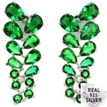 4.3g Real 925 Solid Sterling Silver Gorgeous Green Emerald Mother's Gift Stud Earrings 31x11mm new arrival sterling silver 925 emerald earrings silver square openwork green zircon stud earrings for women palace jewelry gift