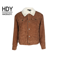 HDY Haoduoyi Winter Jacket Women Long Sleeve Turn Down Collar Corduroy Jacket Women Single Breasted Fashion