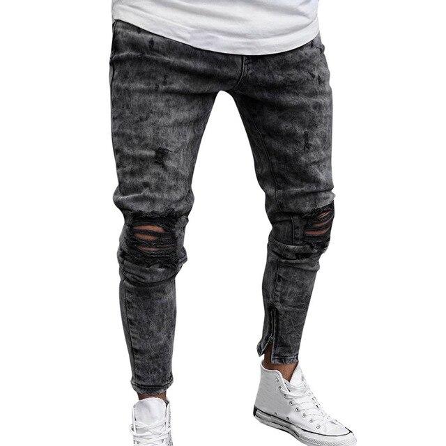 c060b05b9 2019 Men Top Brand Men Clothes Skinny Stretch Denim Pants Distressed Ripped  Freyed Slim Fit Jeans