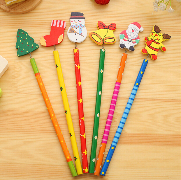 6 PCS/lot New Christmas Wooden Pencils Novelty Cartoon Stationery Wood Pencils  Office school pencils Merry Christmas Gifts 1