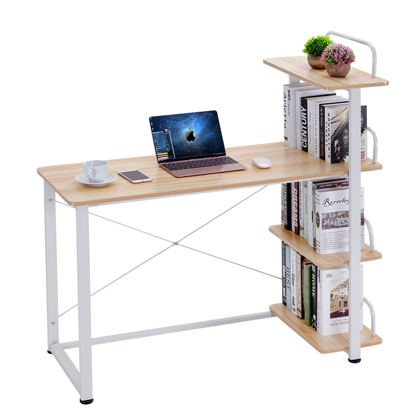 Modern Home Office Desk Corner Computer PC Table Workstation with Bookcase Shelf Office Furniture Dropshipping wooden dressing table makeup desk with stool oval rotation mirror 5 drawers white bedroom furniture dropshipping