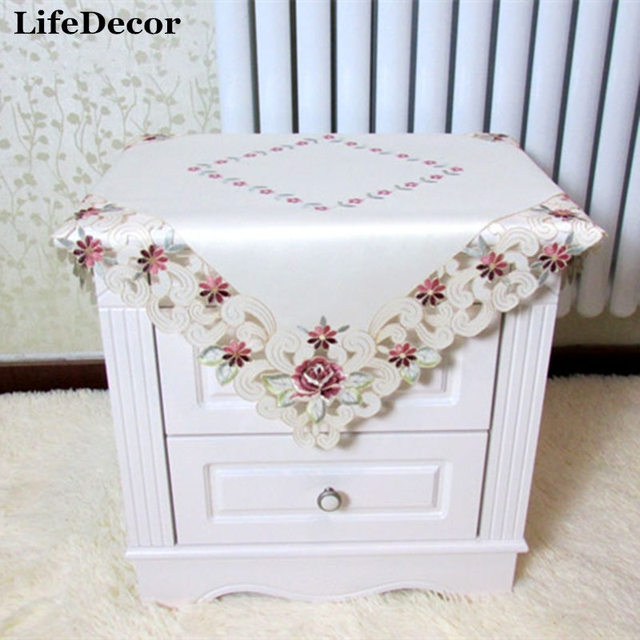Fashion cutout dining table cloth chair covers bedside cabinet cover fashion cutout dining table cloth chair covers bedside cabinet cover satin embroidered fabric sofa cover circle watchthetrailerfo